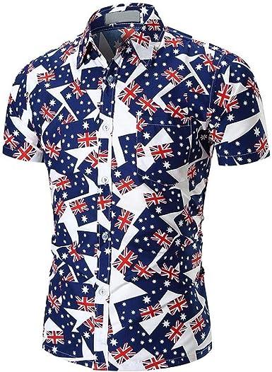 2018 Moda Tops Camisas para Hombre De Verano Retro Ocio Camisas Hombre Hombres Casual De Manga Corta Bandera Corta Impresa Tops Blusa: Amazon.es: Ropa y accesorios