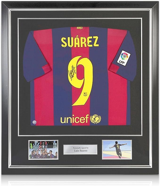 exclusivememorabilia.com Luis Suárez del Barcelona firmada 2014-15 Camiseta de fútbol en Marco de Lujo con Plata embutido: Amazon.es: Deportes y aire libre