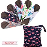 """Teamoy 6Pcs Cloth Menstrual Pads(10"""") with Wet Bag, Reusable Sanitary Pads/Panty Liner with Charcoal Bamboo Absorbency…"""