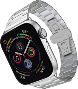 ARTCHE Ultra-Thin Metal Watch Band Compatible with Apple Watch 42mm 44mm for Men Women, Stainless Steel Lightweight Replacement Strap Wristband for iWatch Series 5/4/3/2/1, Siliver