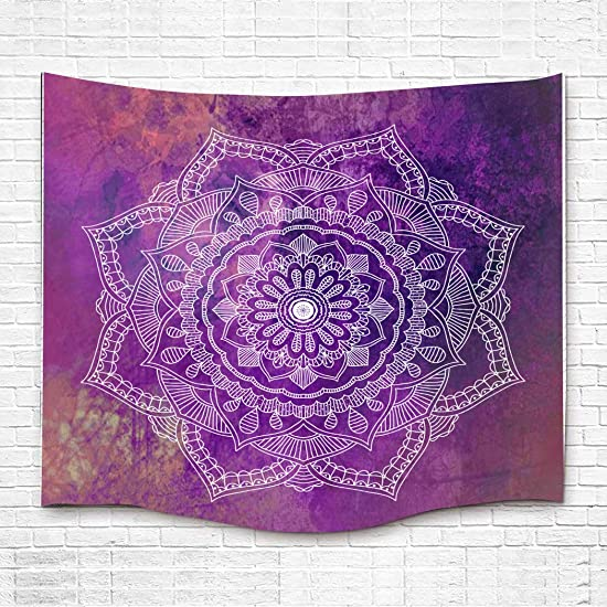 Simsant Lotus Purple Tapestry Psychedelic Wall Blanket Classical Wall Hanging Thick Flannel Wall Decor Purple,84x90inches 213.3×228.6CM SILX020