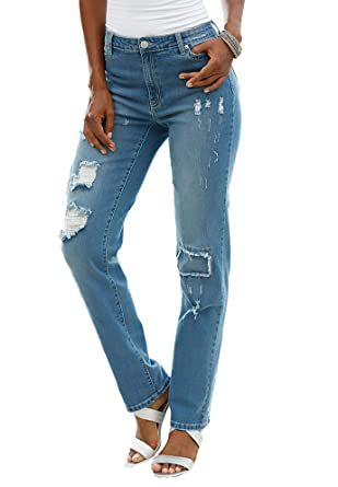 98e006720d5 Roamans Women s Plus Size Distressed Jeans at Amazon Women s ...
