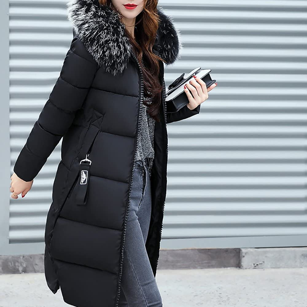 Redbrowm Winter Womens Thickened Down with Fur Hood Jacket Loose Slim Fit Outwear