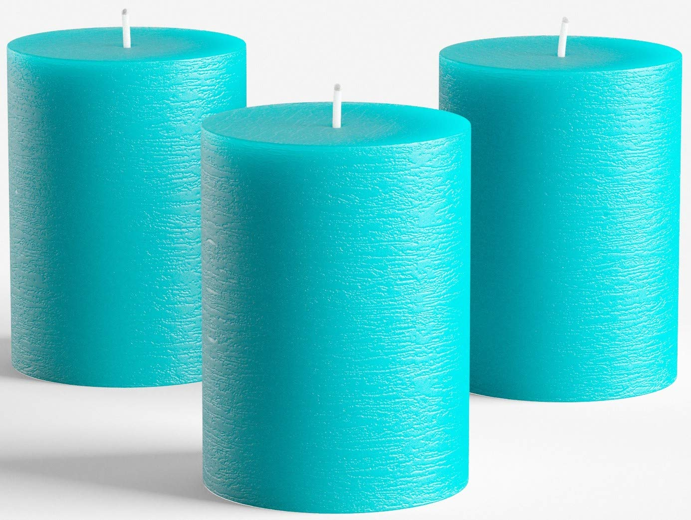 "Set of 3 Turquoise/Teal Pillar Candles 3"" x 4"" Unscented Fragrance-Free for Weddings, Church, Home Decoration, Restaurants, Spa, Smokeless Cotton Wick"