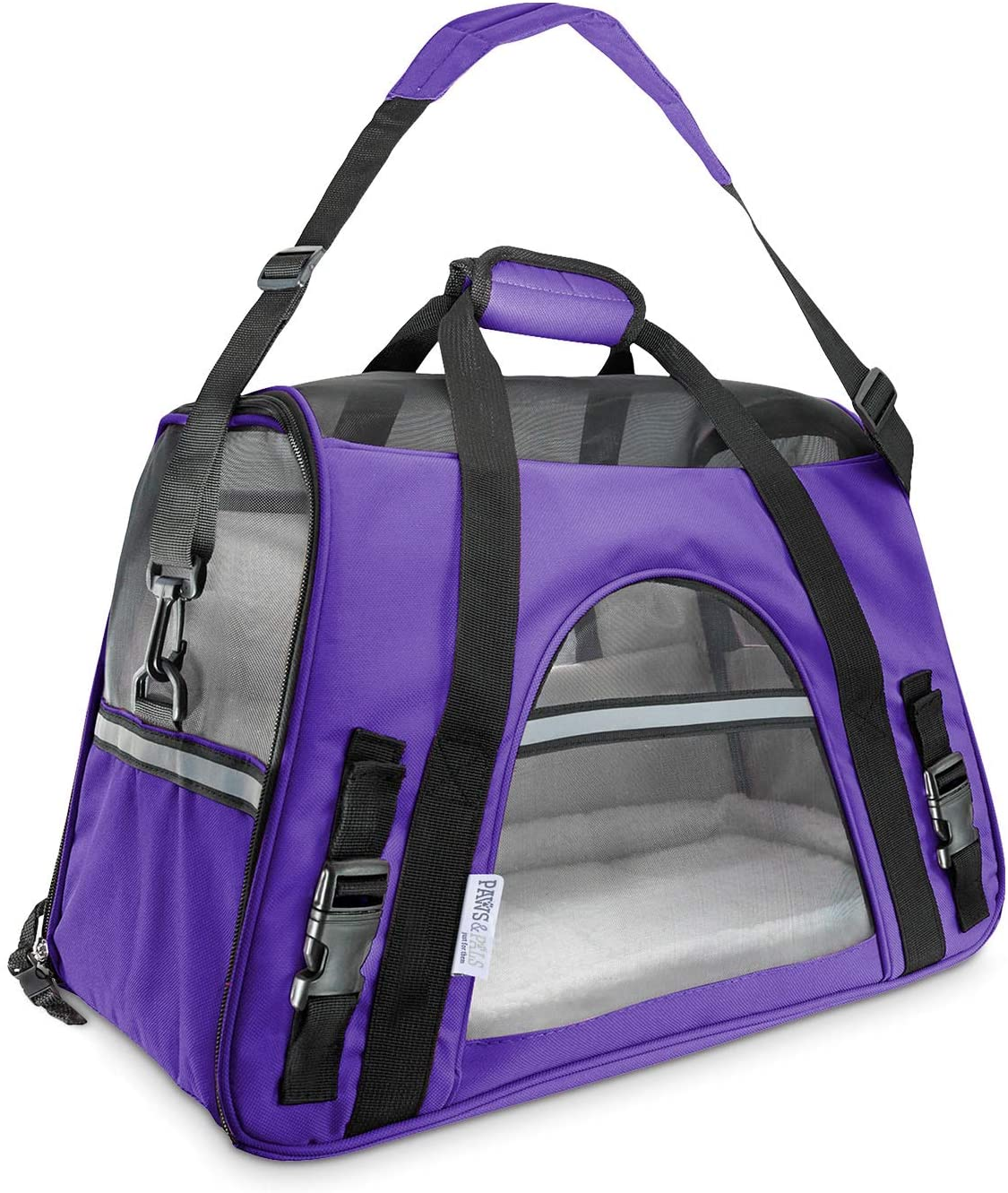 Paws & Pals Airline Approved Pet Carrier - Soft-Sided Carriers for Small Medium Cats and Dogs Air-Plane Travel On-Board Under Seat Carrying Bag with Fleece Bolster Bed for Kitten Cat Puppy Dog Taxi : Pet Supplies