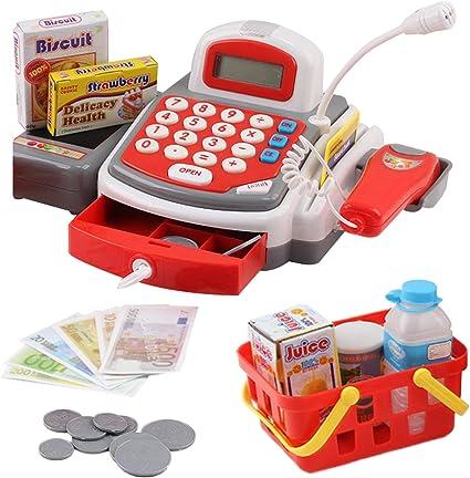 Toy Cash Register Pretend Play Supermarket Cashier Playset Colorful Children's