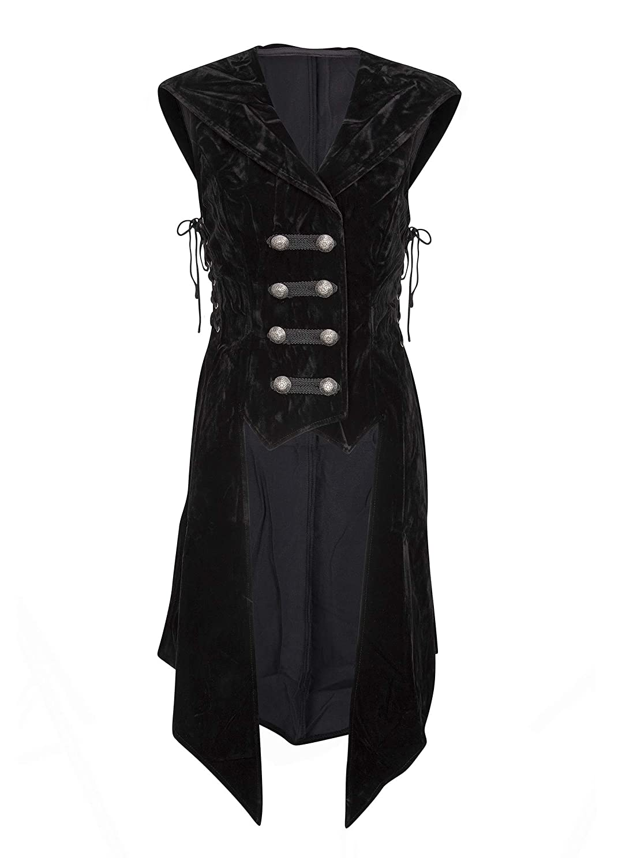 Women Pirate's Black Velvet Hooded Sleeveless Long Tail Vest - DeluxeAdultCostumes.com