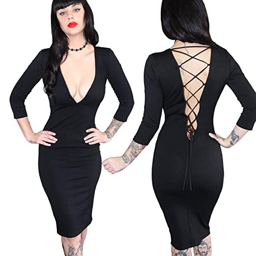 Demi Loon Sexy Cleavange Plunge Cocktail Pinup Dress With Open