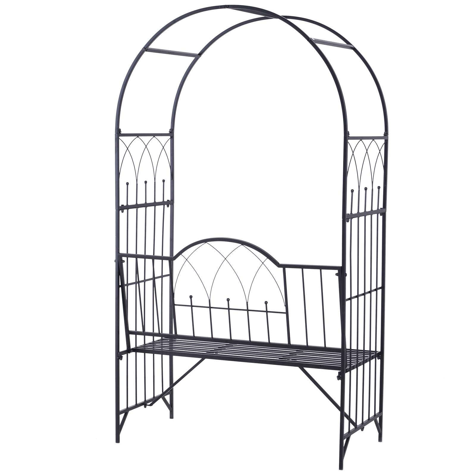 Outsunny Outdoor Garden Arbor Arch Steel Metal with Bench Seat - Black by Outsunny (Image #3)