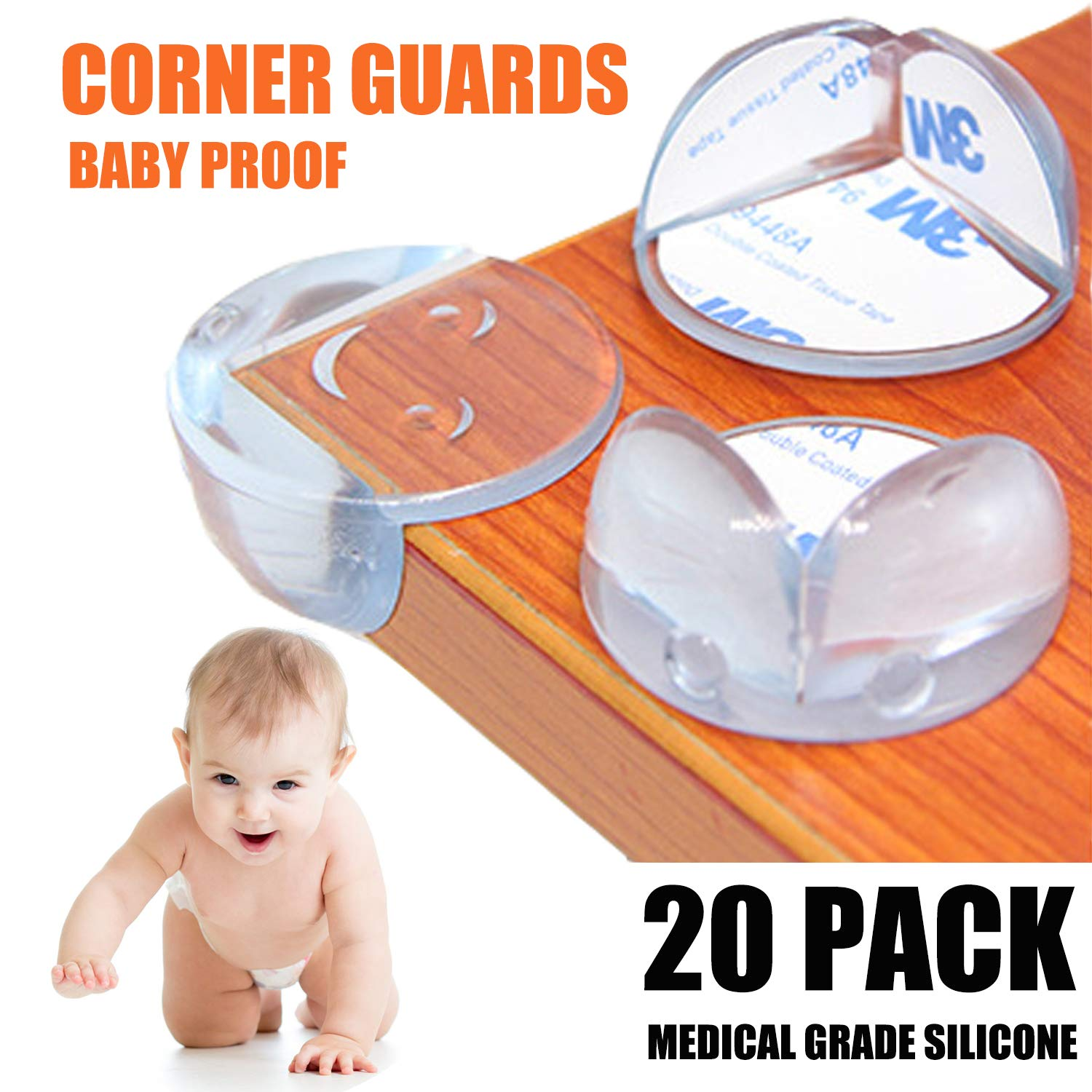 BESTFIT* Corner Protector, Baby Proofing Table Corner Guards, Smiling Face Safe Corner Cushion, Keep Baby Safe from Head Injuries (20 Pack, Clear) TSD