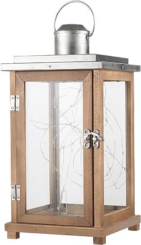 Ninganju 13.5 Inches Decorative Candle Lantern Wood Lanterns Indoor/Outdoor Decorative
