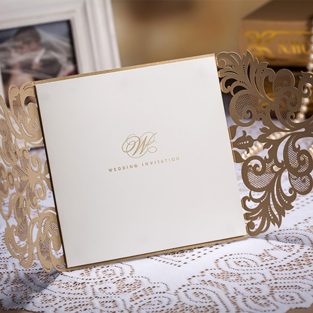 Copper Laser Cut Lace Flora Wedding Invitations Elegant Mariage Decoration Wedding Event Cards CW3109 (100) by Wishmade (Image #4)
