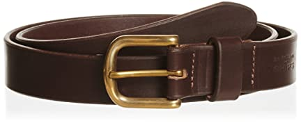 Plain Narrow Leather Belt 118-13-1097: Brown