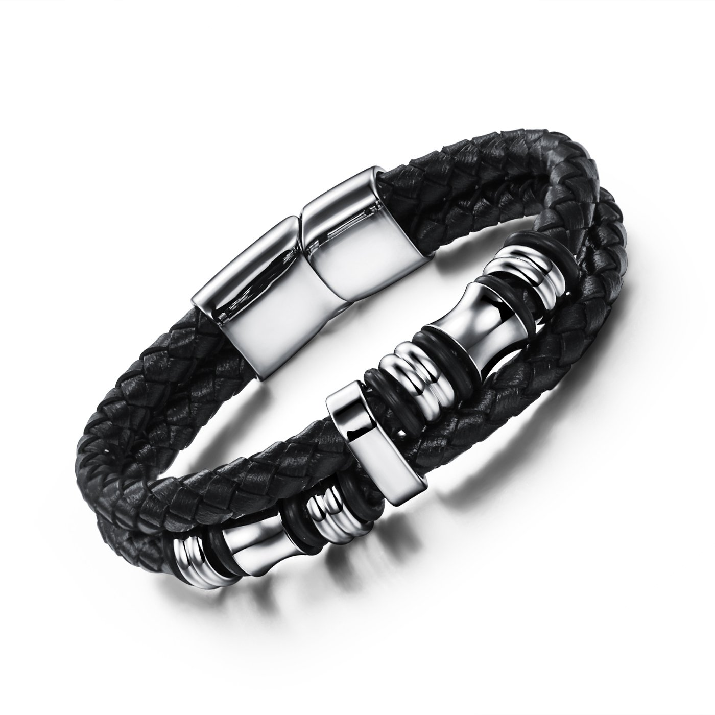 ASHMITA Mens Black Leather Bracelet Genuine Stainless Steel Magnetic Clasp Cuff Bangle 7.5 Inch