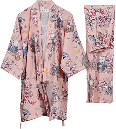 Traje de Pijama de Albornoz Yukata Kimono Robe para Mujer [Conejos de rezo Rosa, Talla L]