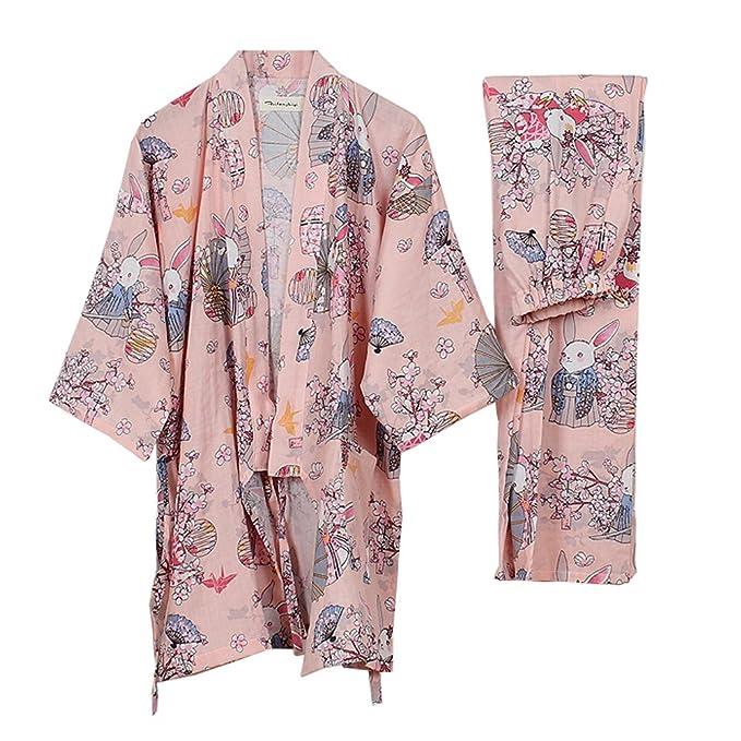 Traje de Pijama de Albornoz Yukata Kimono Robe para Mujer ...