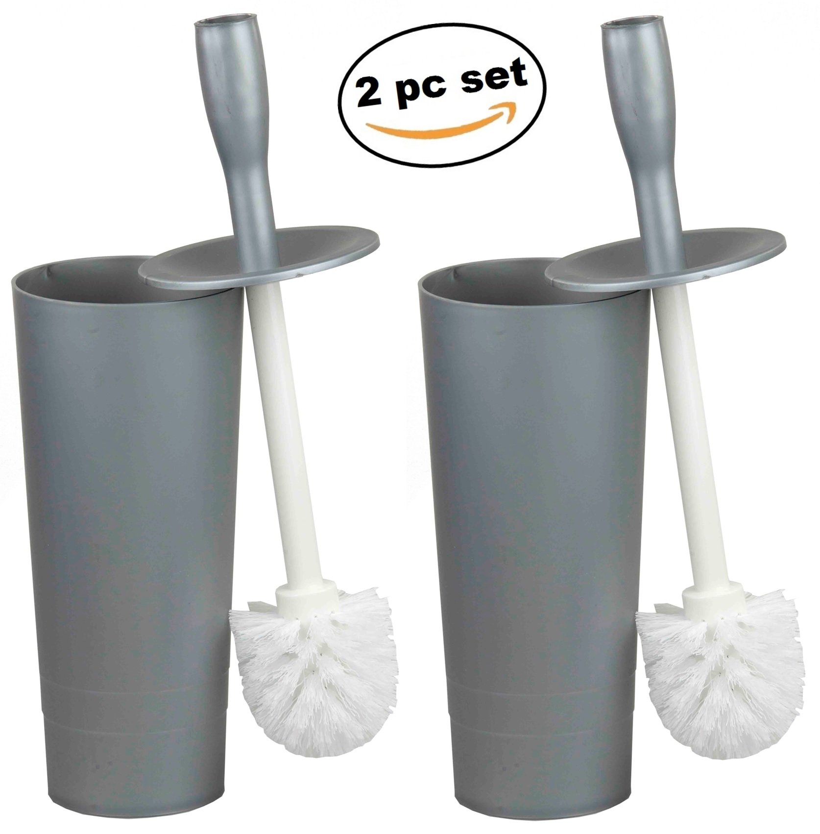 Deluxe 2pc Toilet Brush and Caddy with Lid Holder - 2 pc Set - Grey