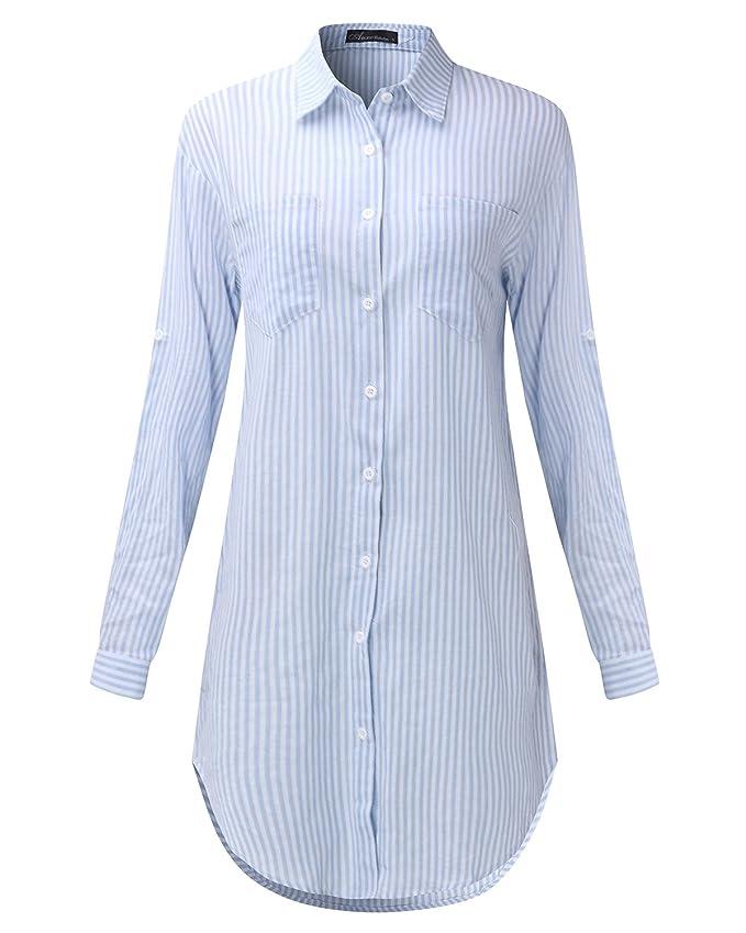 Auxo Damen Streifen Langarm V-Ausschnitt Party T-Shirt Lose Tops Langshirt  Hemdkleider: Amazon.de: Bekleidung