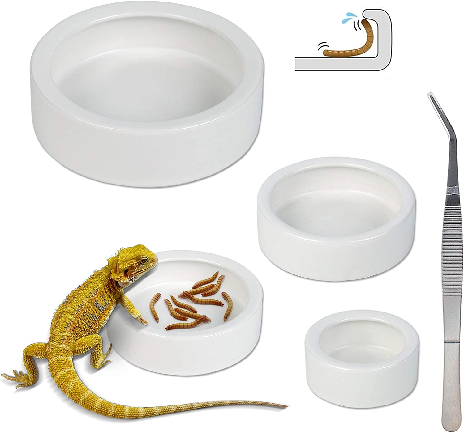 Ceramic Reptile Food and Water Bowl Set of 3,Mini Reptile Feeding Dish,Worm Dish for Lizard Anoles Bearded Dragons(with Tweezer)
