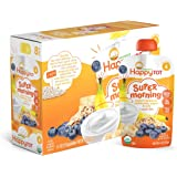 Happy Tot Organic Stage 4 Super Morning, Organic Bananas, Blueberries, Yogurt & Oats + Super Chia, 4 Ounce (Pack of 8)