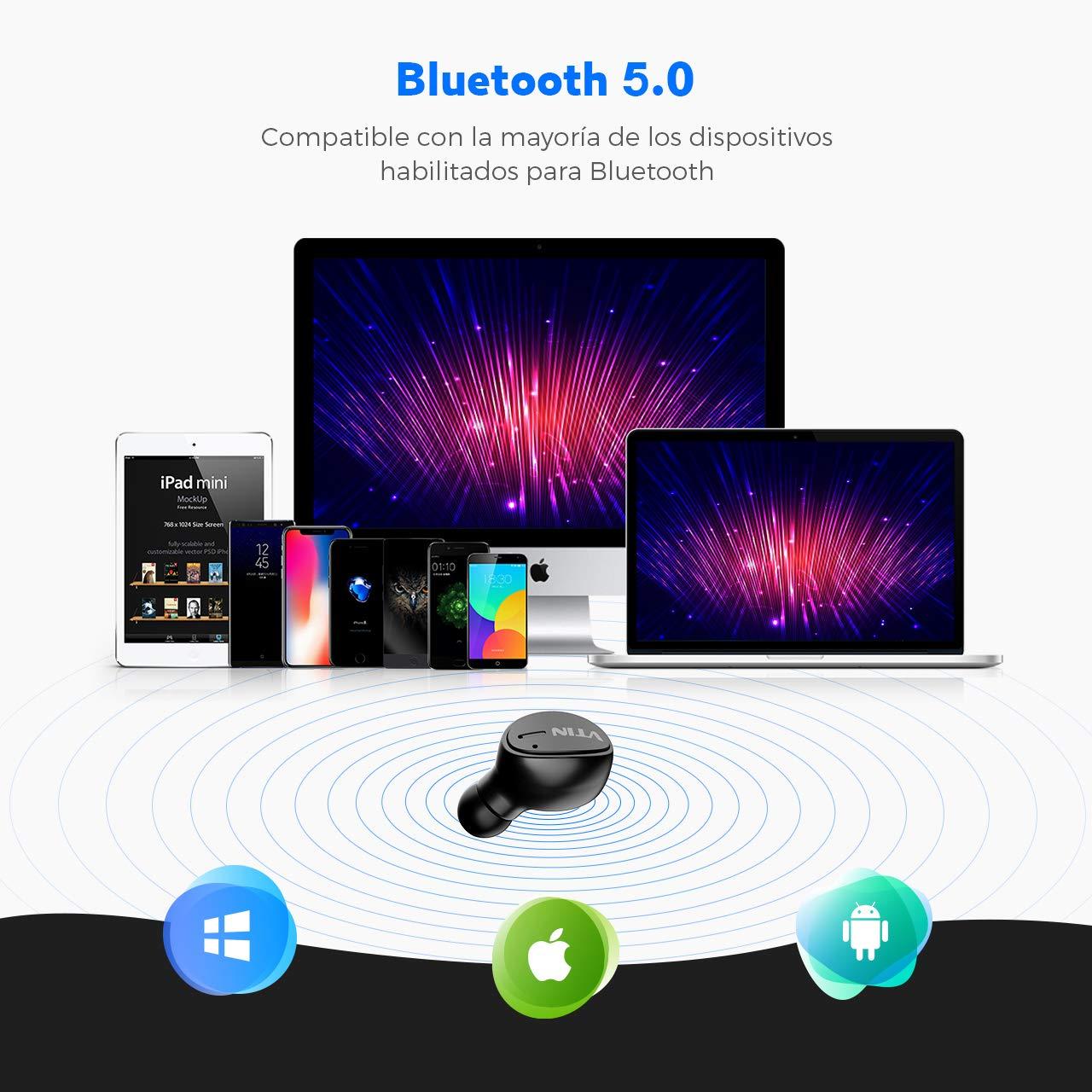 Mini Auricular Bluetooth VTIN Auricular Invisible Bluetooth 5.0 caja para cargar en Cualquier momento para Hacer Llamadas en Coche y Oficina etc- Negro HD Micr/ófono incorporado y manos Libres