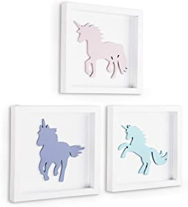 TideAndTales Unicorn Wall Decor, 3D Framed Girls Room Decor, Unicorn Bedroom Decor for Girls, Pastel Bedroom Decor for Teen Girls, White Wood Nursery Decorations, Unicorn Gift for Girls