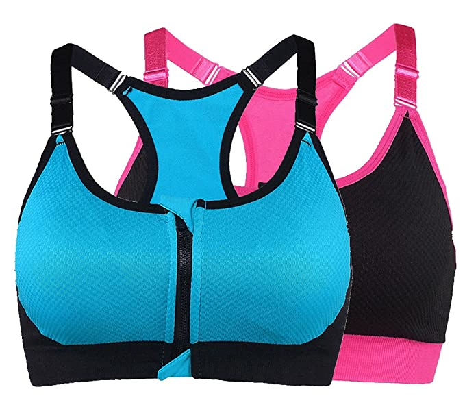 658fb7a61 Ouno Women s Front Zipper Closure Sports Bra High Impact Yoga Bras Pack of  ...
