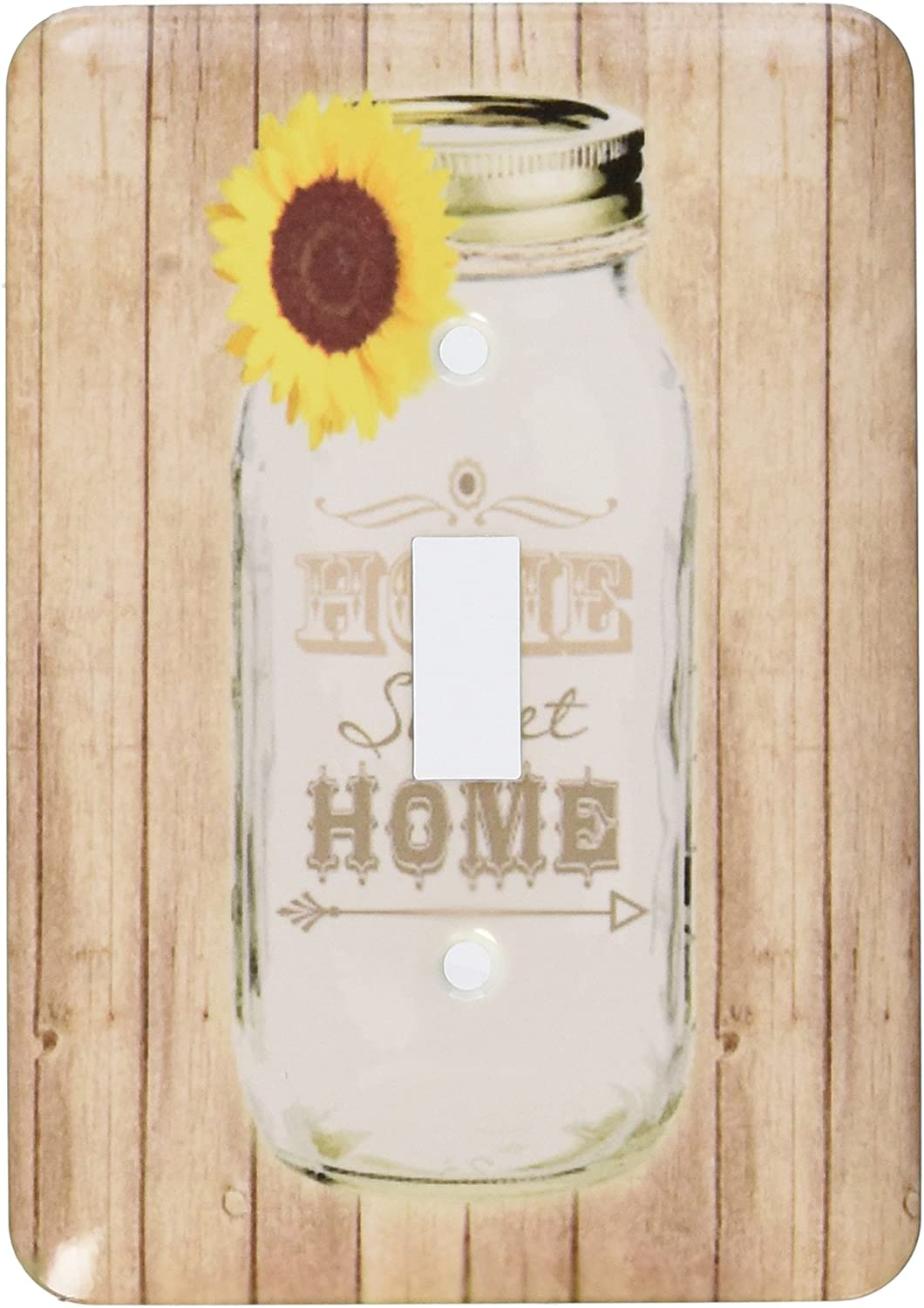 3dRose LLC lsp_128555_1 Country Rustic Mason Jar with Sunflowerm Home Sweet Home Single Toggle Switch
