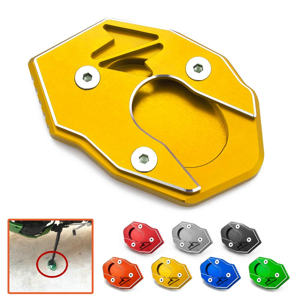 CNC Side stand Enlarge Kickstand Extension Foot Plate Pad For KawasakiZ900 Z900RS Z650 2017-2018 Gold