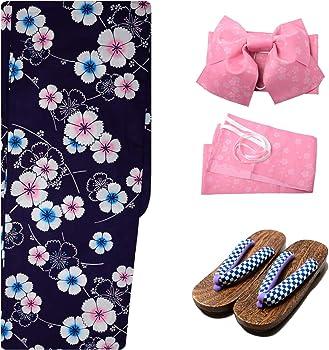 1dc54727a Sakura Women Japanese Yukata (Summer Kimono) & Pre Tied OBI Belt & Geta  Sandals/Indigo Sakura Pattern. Sakura Women Japanese Yukata ...