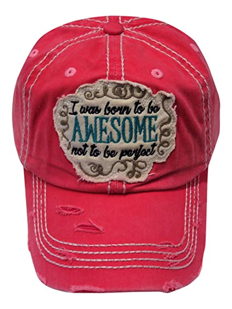 Embroidered I was Born to be Awesome Patch Vintage Style Baseball Cap Hat  (Washed Coral Pink) at Amazon Women s Clothing store  3c072b4b71