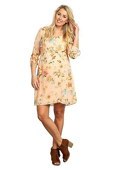 ded75a7ab1458 PinkBlush Maternity Peach Floral Chiffon 3/4 Sleeve Maternity Dress, Small