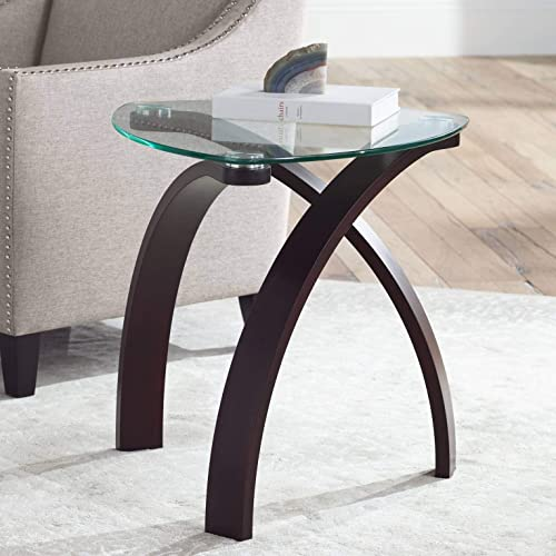 Gianna 23 1/2″ Wide Espresso and Glass Modern End Table