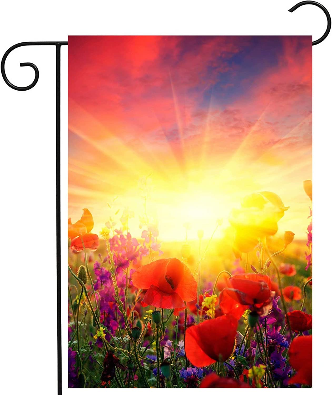"""ShineSnow Floral Flowers Red Poppies Field Sunlight Sunrise Autumn Summer Spring Garden Yard Flag 12""""x 18"""" Double Sided Polyester Welcome House Flag Banners for Patio Lawn Outdoor Home Decor"""
