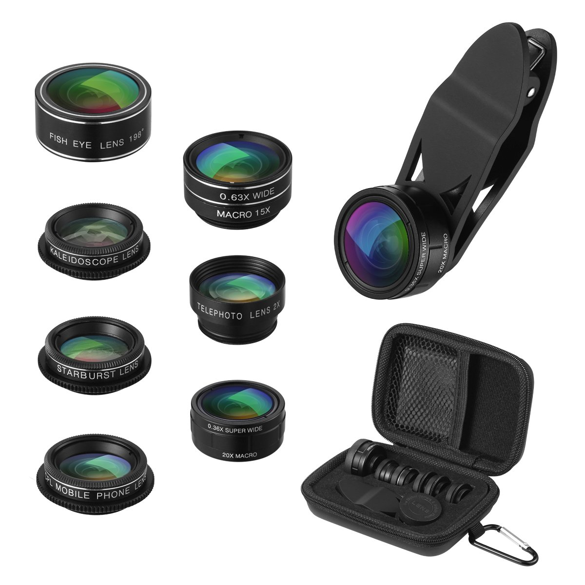 Criacr Phone Camera Lens, 9 in 1 Zoom Lens Kit, 0.36X Super Wide Angle Lens + 0.63X Wide Lens + 15X Macro Lens + 20X Macro Lens + 198°Fisheye Lens + CPL + Starburst Lens Telephoto Lens for Smartphones by AMIR