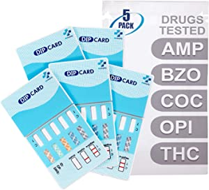 MiCare [5pk] - 5-Panel Urine Test Card (AMP/BZO/COC/OPI/THC) #MI-WDOA-754