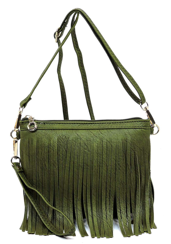 Elphis Western Vintage Fringe Tassel Wristlet Clutch Hipster Shoulder Bag Cross Body Bag(091) (Olive)