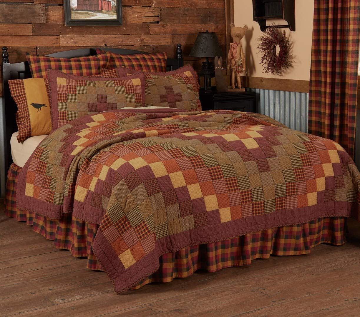 VHC Brands Rustic & Lodge Primitive Bedding-Heritage Farms Quilt, Luxury King, Burgundy Red