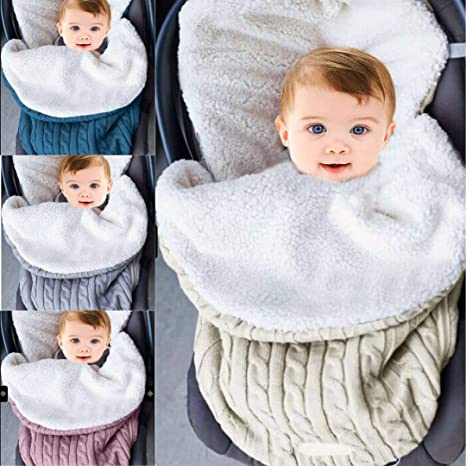 Manta para bebé con forro polar para cochecito de bebé + terciopelo beige beige Talla: