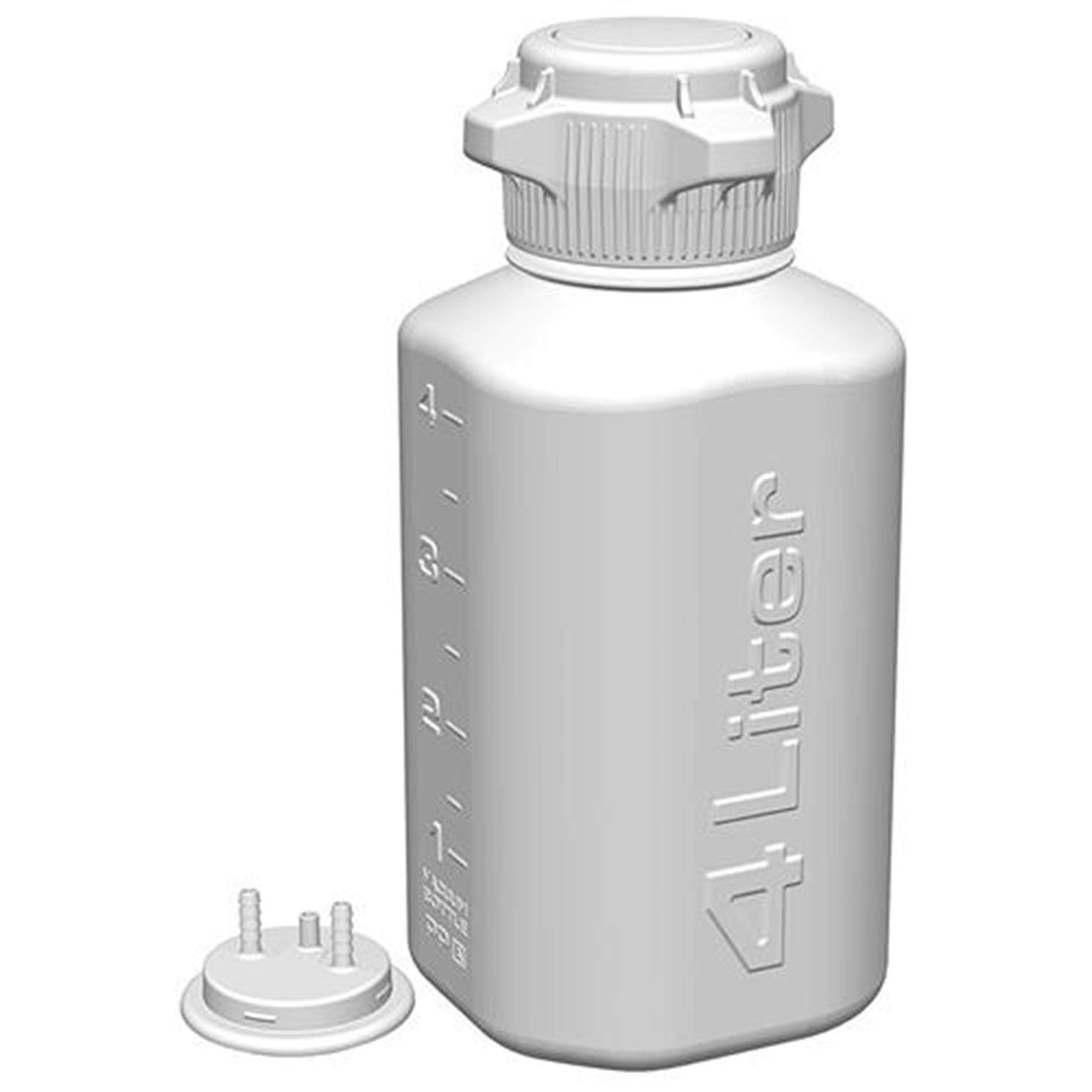 Heavy Duty Autoclavable Polypropylene Vacuum Bottle, 4L, with 83mm (83B) Tangle Free VersaCap, Two 1/4 Inch Hose Barbs and Sealable Vent Port