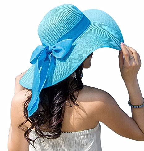 xylzdmz Women s Summer Wide Brim Beach Hats Sexy Chapeau Large Floppy Sun  Caps 7760efe3abdc