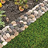 Pack of 8 Garden Flower Bed Edging Strip Pebble Stone Borders