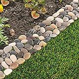 Pack of 8 Garden Flower Bed Edging Strip Pebble Stone Borders