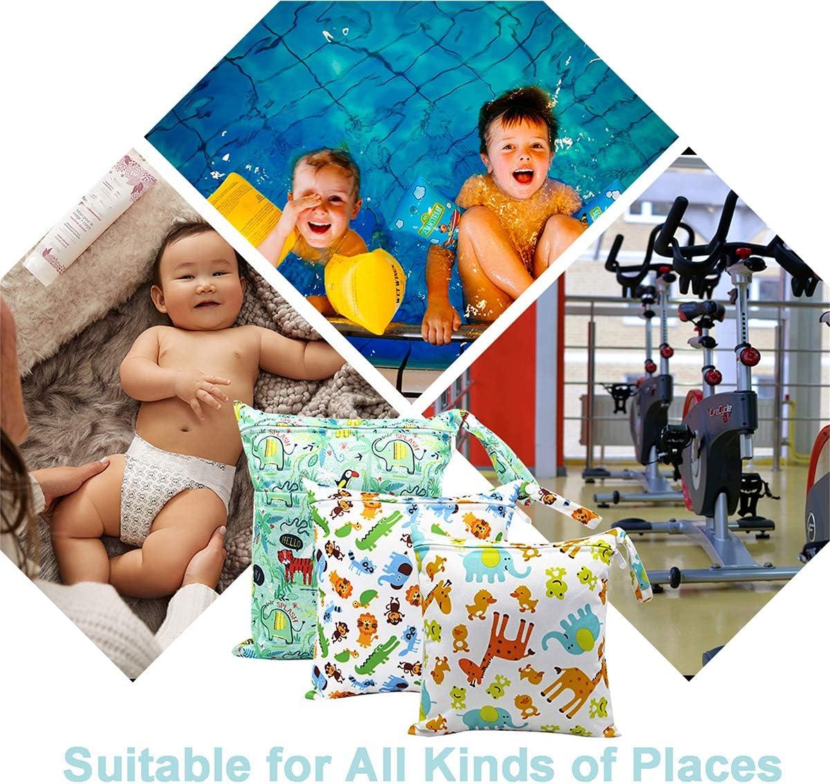 Amarillo Playa Gym Wetbag Port/átil Organizador de Viaje HOTLIKE Bolsa de Pa/ñales 3PCS Beb/é Reutilizable Impermeabilizan Bolsa con Cremallera Impermeable para Mam/á