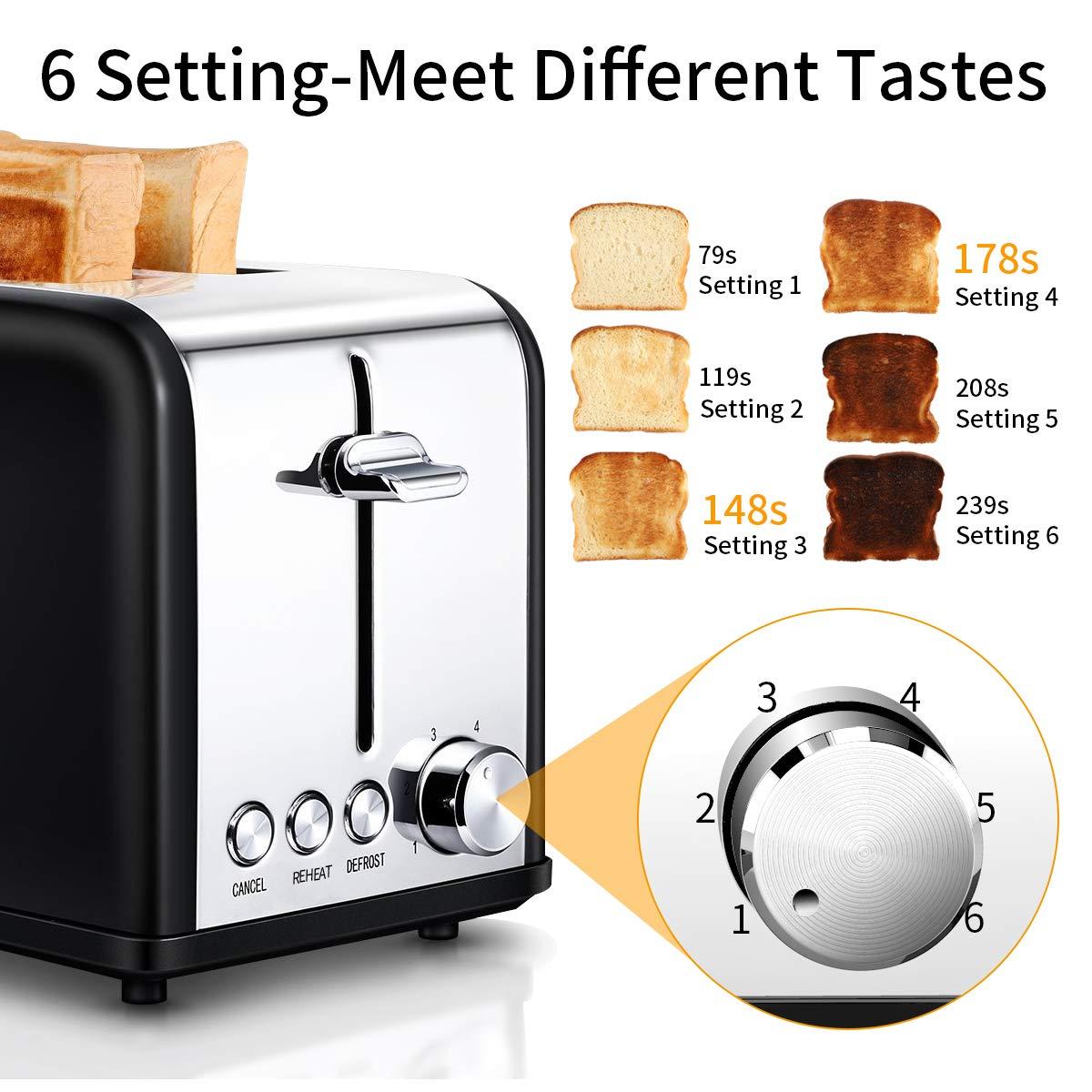 Grille-pain Noir et Argent, Morpilot Toaster Express Décongélation Réchauffage, Réchauffer Viennoiseries, 2 Fentes, 800W Inox