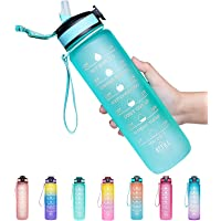 32oz Leakproof BPA Free Drinking Water Bottle with Time Marker to Ensure You Drink Enough Water Throughout The Day for…