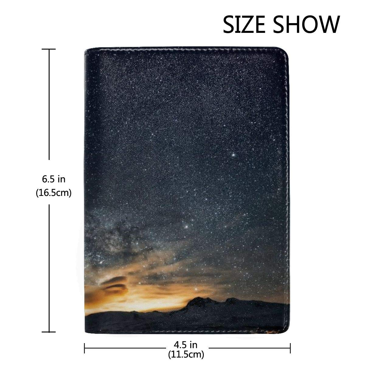 Galaxy Stars Fashion Leather Passport Holder Cover Case Travel Wallet 6.5 In