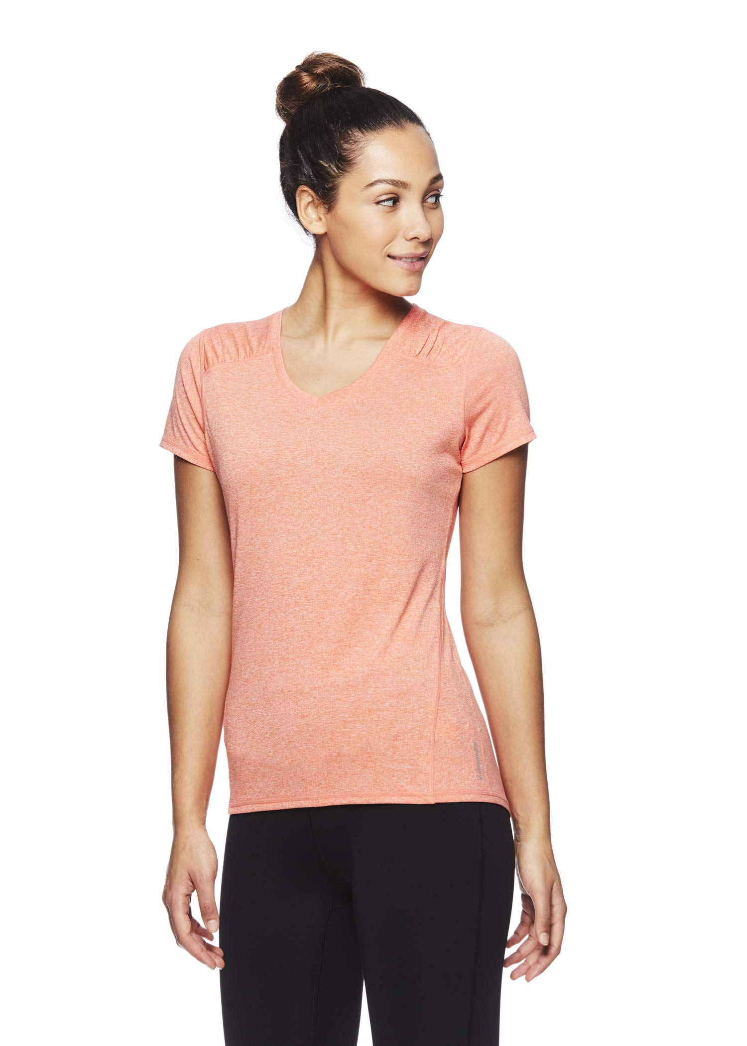 HEAD Women's Brianna Shirred Short Sleeve Workout T-Shirt - Marled Performance Crew Neck Activewear Top - Brianna Peach Echo Heather, X-Small by HEAD (Image #2)