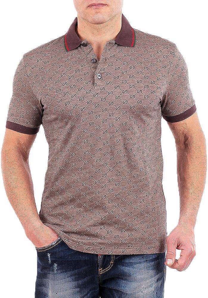 Gucci Polo Shirt, Mens Brown Short Sleeve Polo T- Shirt GG Print