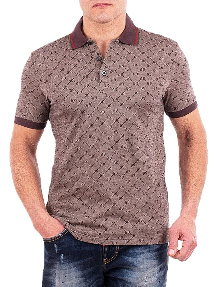 c8ec201b2 Amazon.com: Gucci Polo Shirt, Mens Brown Short Sleeve Polo T- Shirt GG Print:  Clothing